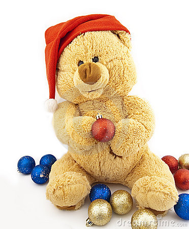 Toy bear and Christmas-tree decorations