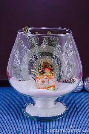 Free Toy Bear In A Glass Vase Covered With Snow Stock Images - 48638704