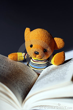 Toy bear reading