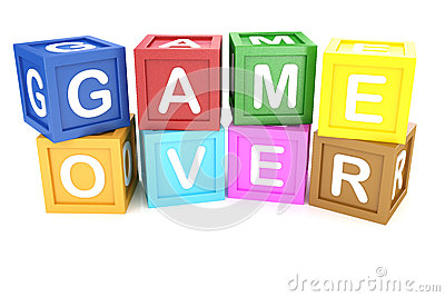 Toy Block with Game Over phrase