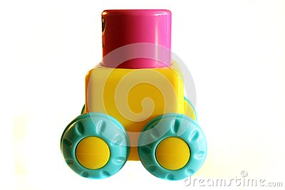 Toy block on wheels