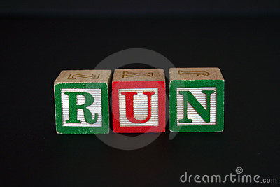 Toy blocks that spell RUN