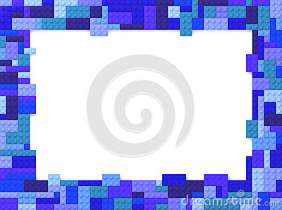 Toy Bricks Picture Frame - Blue