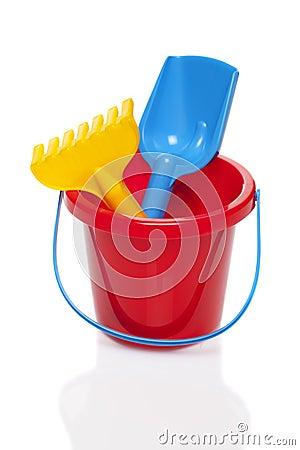 Free Toy Bucket Rake And Spade Stock Photo - 54246340