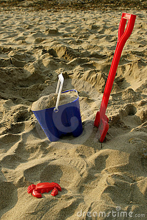 Toy Bucket and Spade on Beach