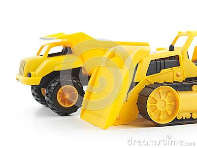 Toy bulldozer and dump truck