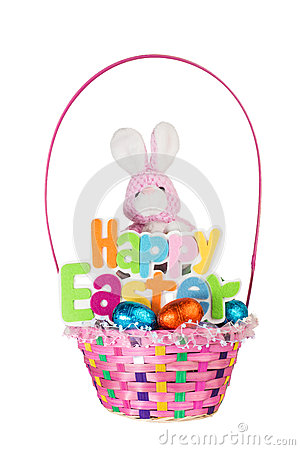 Free Toy Bunny And Colorful Basket Full Of Chocolate Easter Eggs Stock Photos - 29632163