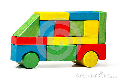 Toy bus, multicolor car wooden blocks, transport