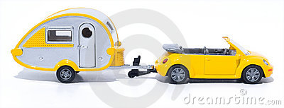 Toy cabrio and camper