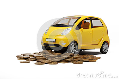 Toy car and heap of golden coins