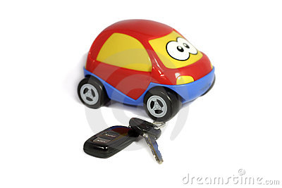 The toy car with keys and a charm