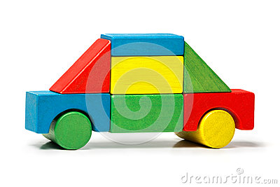 Toy car, multicolor wooden blocks transport