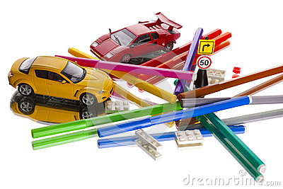 Toy cars markers mess