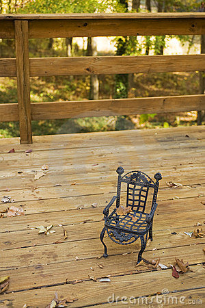 Toy chair on a deck
