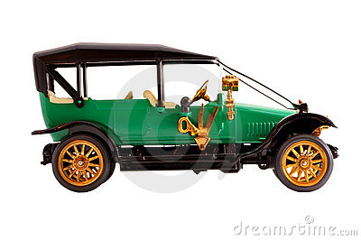 Toy collection scale model ancient green car