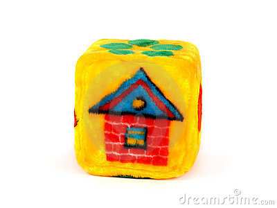 Toy Cube with House Pattern