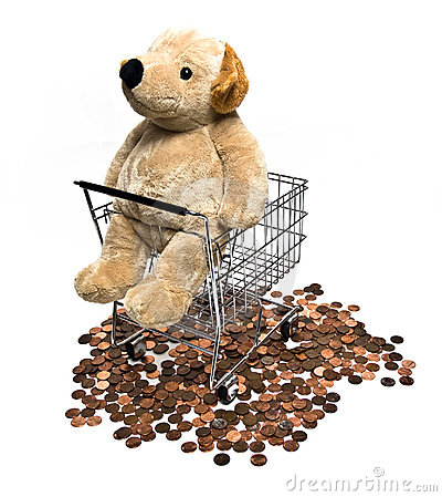 Toy Dog in Shopping Cart