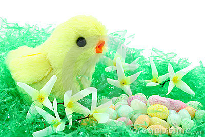 Toy Easter Chick With Flowers And Candy