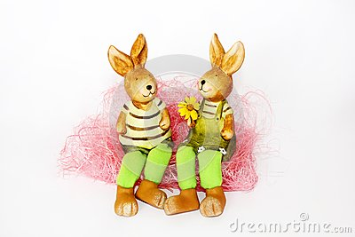 Toy Easter rabbits in love