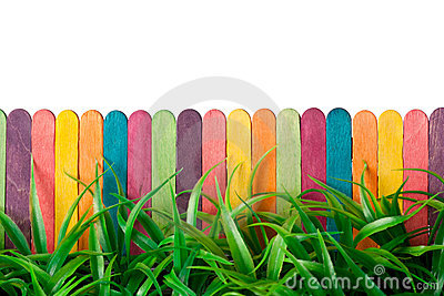 Toy fence and grass