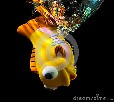 Toy fish and water splash.