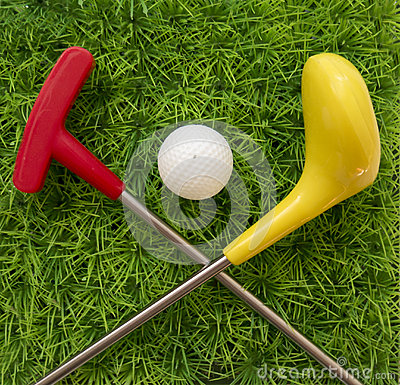 Free Toy Golf Club With Ball On The Grass Stock Photo - 86023070