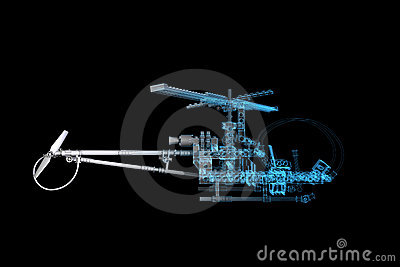 Toy Helicopter (3D xray blue)