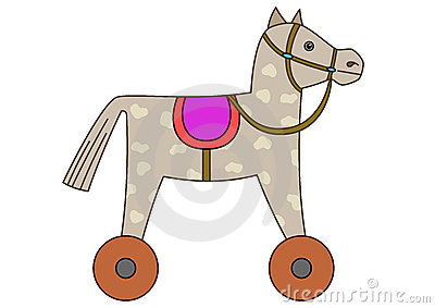 Toy horsy, skewbald on wheels
