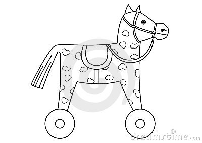 Toy horsy, skewbald on wheels, contours