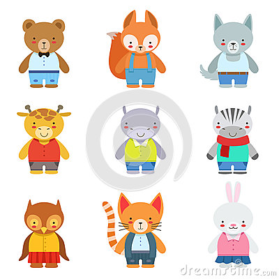 Free Toy Kids Animals In Clothes Stock Photo - 82170010