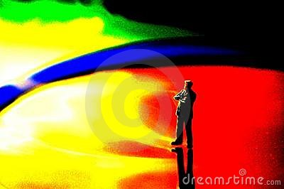 Toy man on colorful background