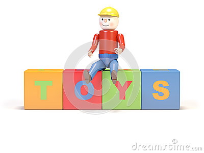Toy man and cubes