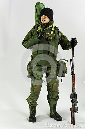 Free Toy Man Soldier Action Figure Miniature Realistic Silk White Background Stock Photography - 50184802