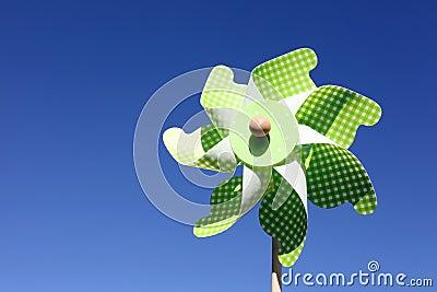 Toy pinwheel against blue sky