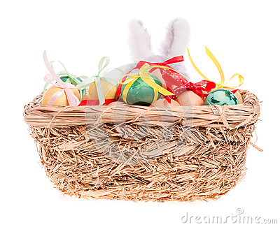Toy rabbit for a basket with Easter eggs