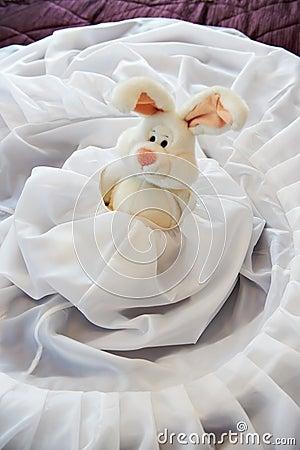 Toy rabbit in wedding dress