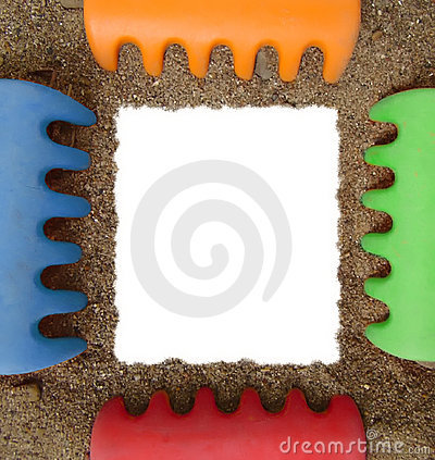 Toy rake and sand photo frame
