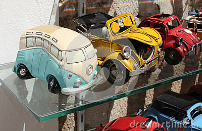 Toy retro cars in shop