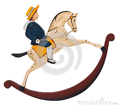 Free Toy Rocking Horse With Boy Stock Image - 51902671