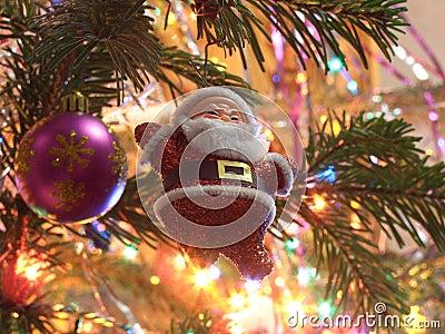 Toy Santa on christmas tree