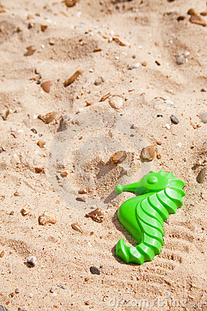 Toy seahorse on the beach