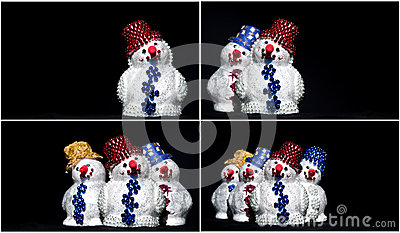 Toy snowman on black set