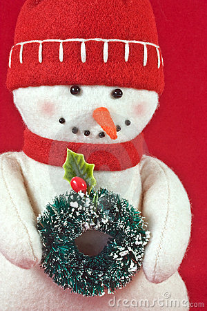 Toy Snowman with Wreath