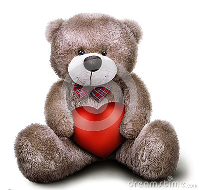Free Toy Soft Teddy Bear With Valentine Heart Stock Image - 59304391