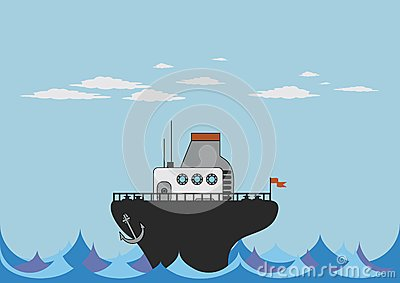Toy steamer in the sea