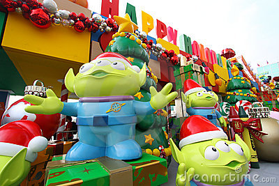 Toy Story Christmas decorations in Hong Kong Editorial Image