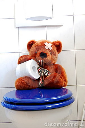 Toy teddy bear on wc toilet