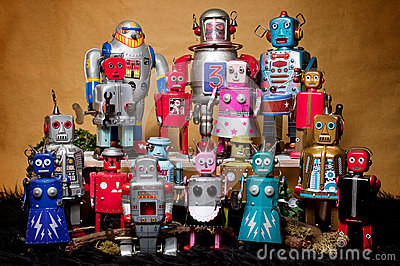 Toy Tin Robot Gathering 01