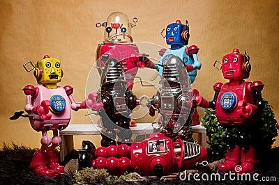 Toy Tin Robot Gathering 06