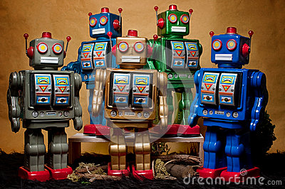 Toy Tin Robot Gathering 07
